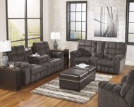 Acieona Slate 3 Pc. Reclining Sofa with Drop Down Table, Double Rec Loveseat with Console & Swivel Rocker Recliner