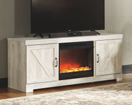 Bellaby Whitewash LG TV Stand with Fireplace Insert Glass/Stone