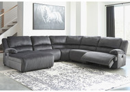 Clonmel Charcoal LAF Press Back Power Chaise, Armless Chair, Wedge, Armless Recliner & RAF Zero Wall Power Recliner Sectional