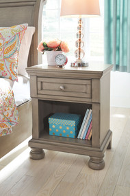 Lettner Light Gray One Drawer Night Stand