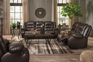 Vacherie Chocolate Reclining Sofa, Double Reclining Loveseat with Console & Rocker Recliner