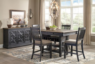 Tyler Creek Black/Gray 6 Pc. Rectangular  Counter Table, 4 Upholstered Barstools & Server