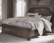 Adinton Brown King Panel Bed with 2 Storage Drawers