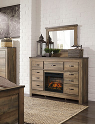 Trinell Brown Dresser & Mirror with Electric Fireplace