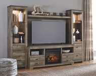 Trinell Entertainment Center LG TV Stand, 2 Tall Piers, Bridge with Fireplace Insert Infrared