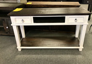 White/Tobacco  Media Stand - Online Only
