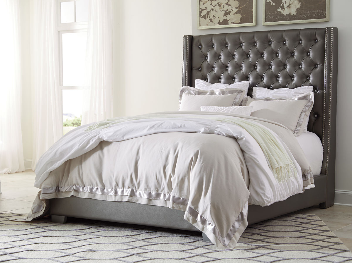 The Coralayne Gray King Upholstered Bed Available At Furniture Direct Serving Hattiesburg Ms And Surrounding Areas