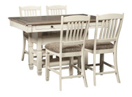 Bolanburg Antique White 5 Pc. Rectangular Dining Room Counter Table & 4 Upholstered Barstools