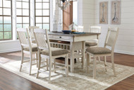Bolanburg Antique White 7 Pc. Rectangular Dining Room Counter Table & 6 Upholstered Barstools