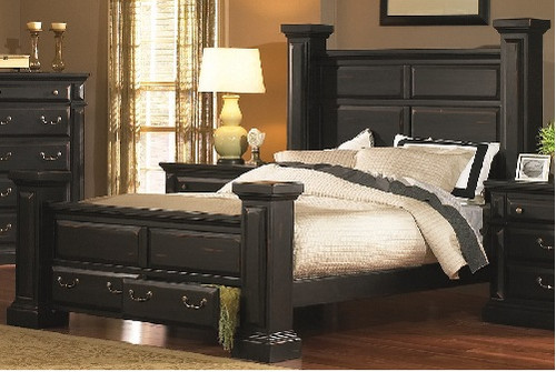 The Torreon King Storage Bed In Antique Black Finish Is