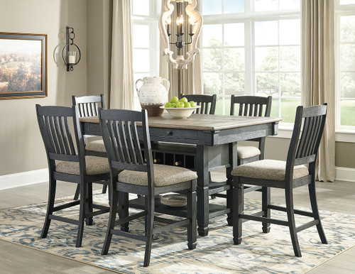 Tyler Creek Black Gray Rectangular Dining Room Counter Table