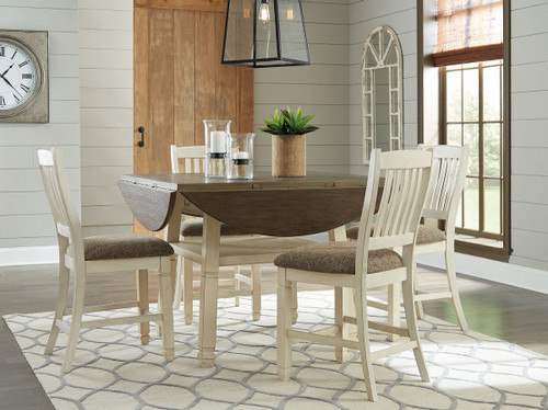Bolanburg Two Tone 5 Pc Round Drop Leaf Counter Height Dining Set