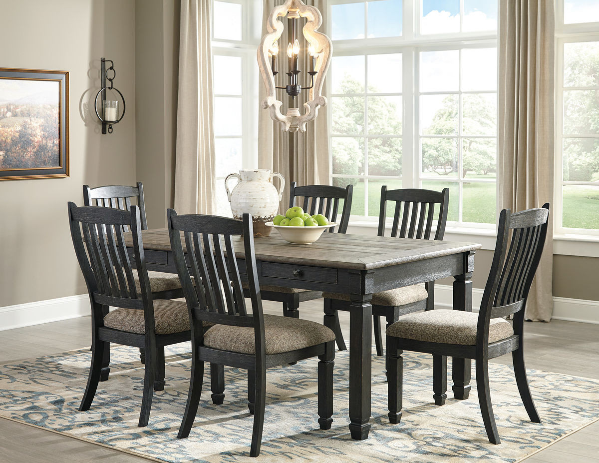 Picture of: Tyler Creek Black Gray 7 Pc Rectangular Dining Set Furniture Direct Now