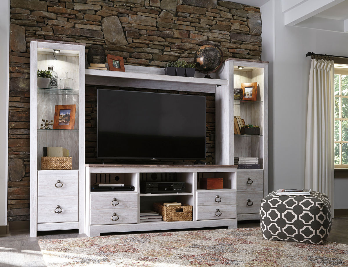 Willowton Whitewash Large Tv Stand With Fireplace Option 2 Piers Bridge Furniture Direct Now