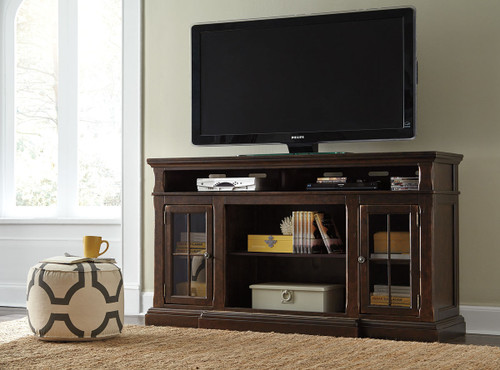 Roddinton Dark Brown Xl Tv Stand With Fireplace Option Furniture