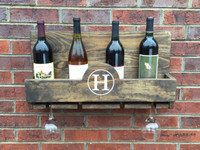 Personalized Wine Bottle Holder and Glass Rack
