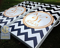 Custom Chevron Cornhole Board Set