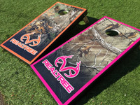 Colored Border Realtree Camo Cornhole Boards