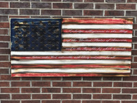 Pledge of Allegiance Engraved Wooden American Flag