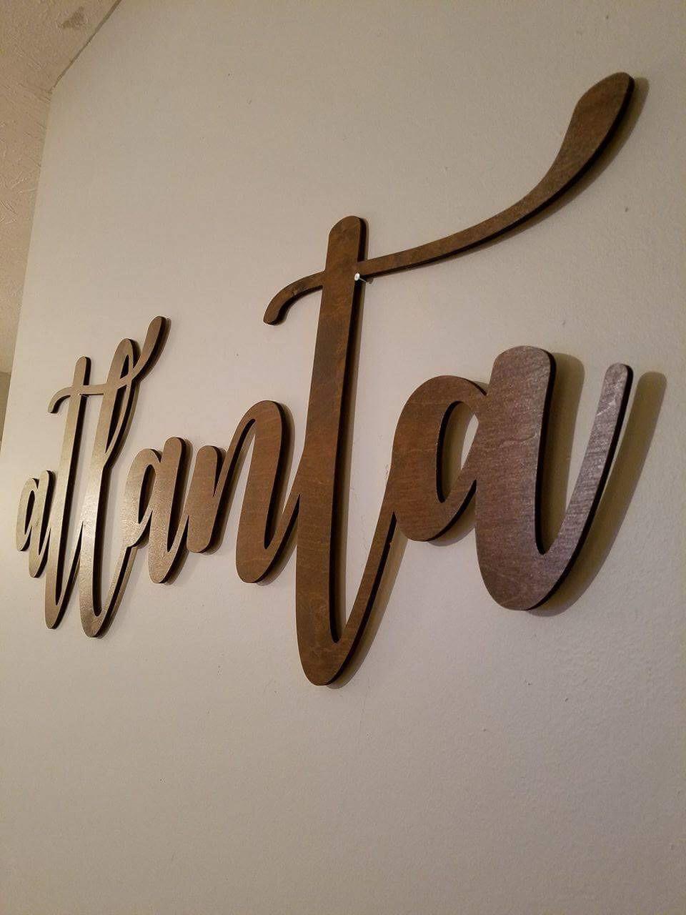 Custom Laser Cut Wood Word Signs