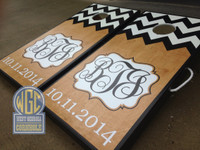 Half and Half Custom Chevron Monogram Cornhole Board Sets