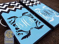 Half and Half Custom Skin Chevron Monogram Cornhole Boards
