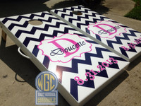 Custom Chevron Monogram Custom Cornhole Board Set