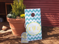 Custom Chevron Monogram Cornhole Board Set