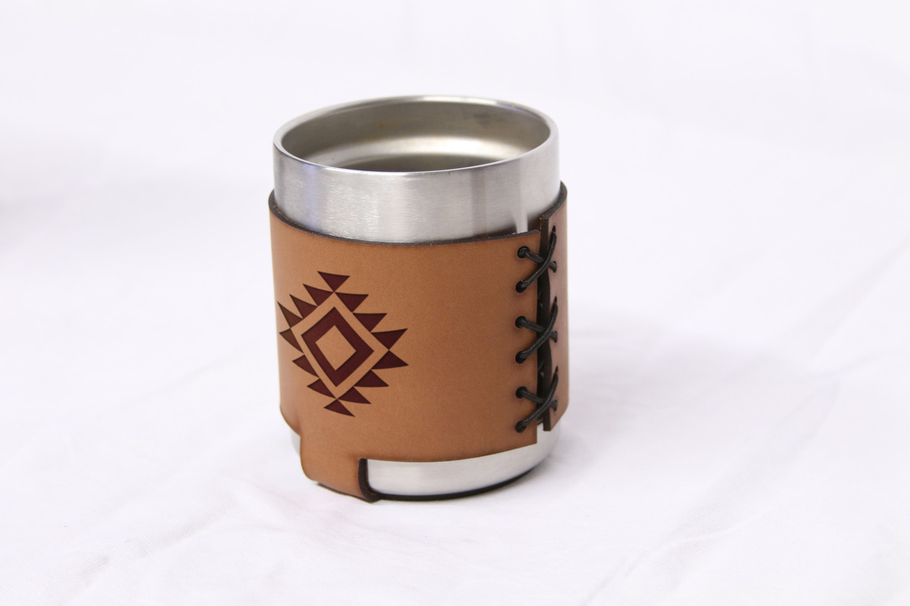 Custom Stainless Steel Rambler Leather Koozie