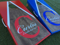Personalized Dark Walnut Half and Half Triangle Cornhole Board Set