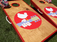 Real Birch Stained Woodstock Cornhole Board Set