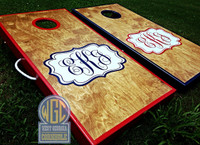 Fancy Custom Monogram Cornhole Board Set