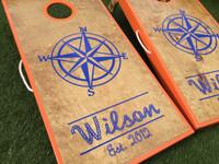 Compass Design Cornhole Boards