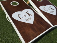 Heart Initials Custom Cornhole Boards