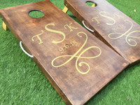 Solid Stain Monogram Custom Cornhole Boards