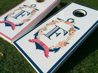 Anchor Wreath Custom Cornhole Boards