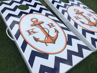Anchor Chevron Custom Cornhole Boards