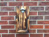 Custom Rustic Wall Hanging Bottle Opener: Burned Wood