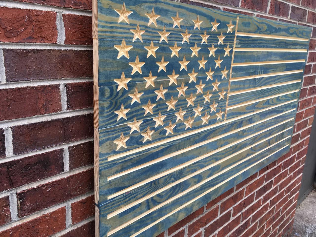 Worn Navy Engraved American Flag