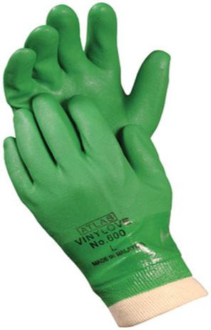 ATLAS® Vinylove Green PVC Dipped Gloves  ##605 ##