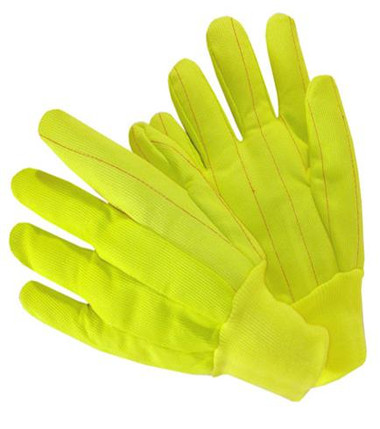 20oz Hi-Vis Knit Wrist Poly Corded Gloves Yellow  ##4518CR / Y ##