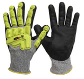 ANSI A4 - Dyneema Micro Nitrile Palm Coated Cut / Impact Gloves  ## RWGD110 ##