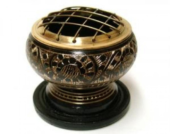 Small Brass Charcoal Screen Incense Burner