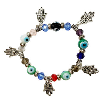 Multicolor Evil Eye with Hamsa Hand Bracelet