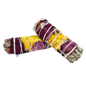 White Sage with Rose Petals Smudge Stick