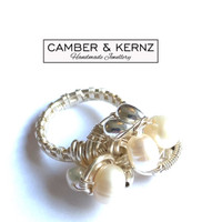 Silver Plated White Pearl Cluster Ring (Size Q/8)