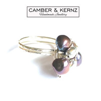 Hammered Silver Plated Peacock/Bronze Pearl Cluster Ring (Size R/8.5)