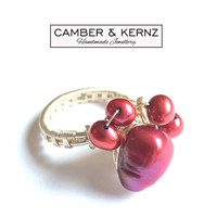 Silver Plated Red Pearl Cluster Ring (Size Q/8)