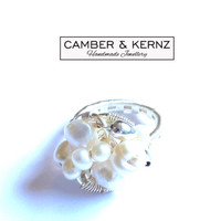 Silver Plated, White Pearl Cluster Ring (Size N/6.5)