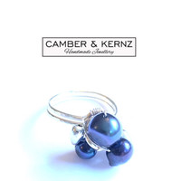 Hammered Silver Plated Peacock Pearl Cluster Ring (Size Q/8)
